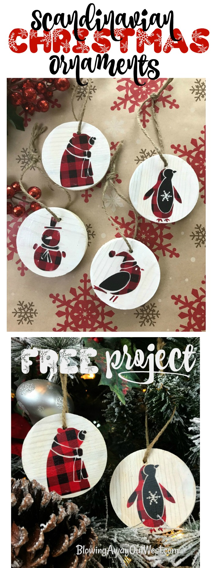Scandinavian Wood Ornaments : Buffalo Check Ornaments | blowingawayoutwest.com - DIY Buffalo check and wooden Scandinavian Woodland Friends Christmas Tree Ornaments #scandinavianchristmas #christmascraft #buffalocheckchristmastree #buffalocheckchristmas #buffalocheckdiy #diyornaments #12daysofChristmas