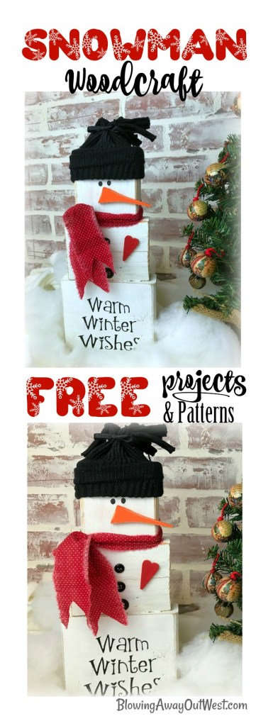 Wood Block Snowman Christmas Craft | blowingawayoutwest.com - The complete tutorial for this adorable Wood Block Snowman who offers Warm Winter Wishes #christmaswoodcraft #woodsnowman #warmwinterwishes #christmascraft #snowmancraft