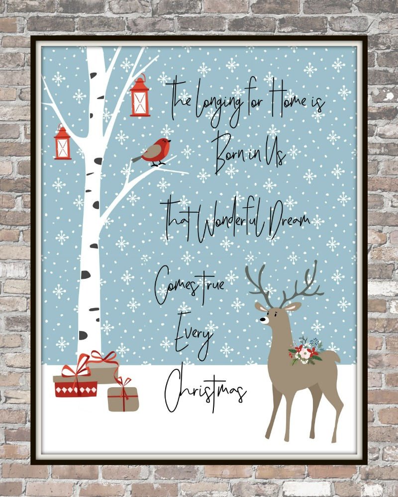 Forest Friends FREE Christmas Printables | blowingawayoutwest.com - Christmas free downloadable set of 8x10 prints with bonus phone digital wallpaper #christmasprintable #christmasdigitalwallpaper #christmasprints #gallerywall
