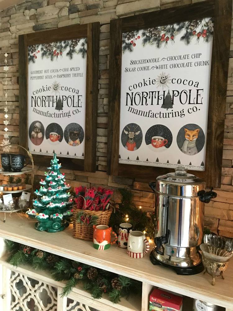 North Pole Hot Cocoa Bar | blowingawayoutwest.com - Hot chocolate bar inspiration, and complete set of printables from the North Pole Cocoa & Cookie Mfg. Co. posters and gift tags #hotcocoabar #hotcocoabarparty #hotchocolatebar #hotchocolatebarwedding #hotcocoabarwedding #northpolehotcocoa #12daysofchristmas #christmasparty