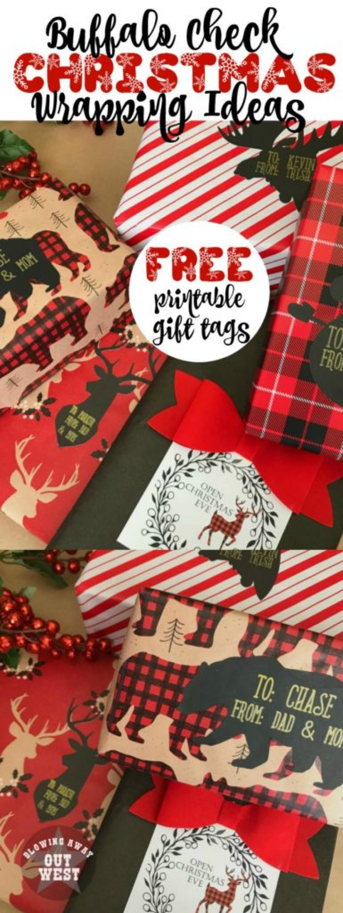 Buffalo Check Gift Wrapping Ideas: Free reindeer printable gift tags   blowingawayoutwest.com - Easy Cricut project to make customized tags. #christmasprintable #freechristmasgifttags #christmaswrapping #buffalocheckchristmas #customgifttags