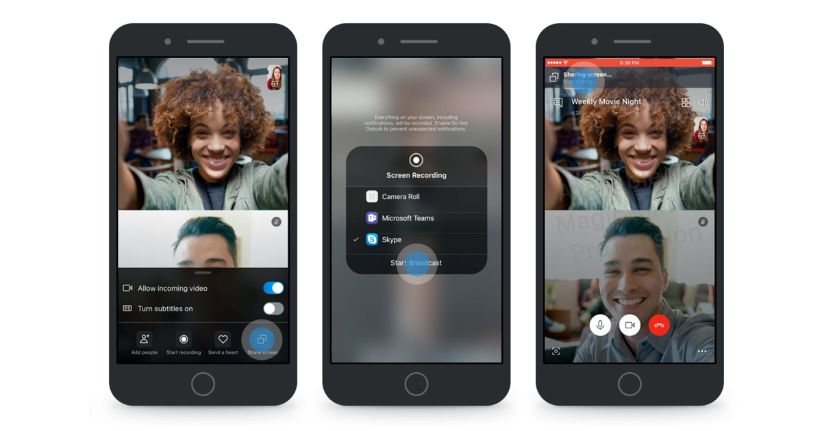 Skype Adds Screen Sharing Feature To Its Android IOS Apps