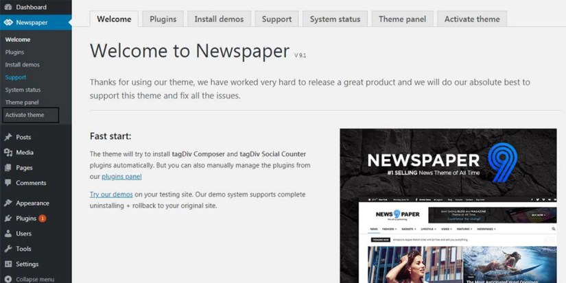 Now Open Newspaper Activation Panel