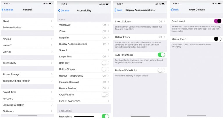 Steps to enable dark mode on ios