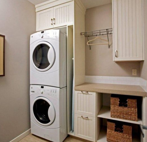 Laundry room in the basement with moveable washer