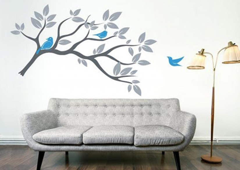 Beautiful Birds Painting On Wall With Tree Decor Ideas