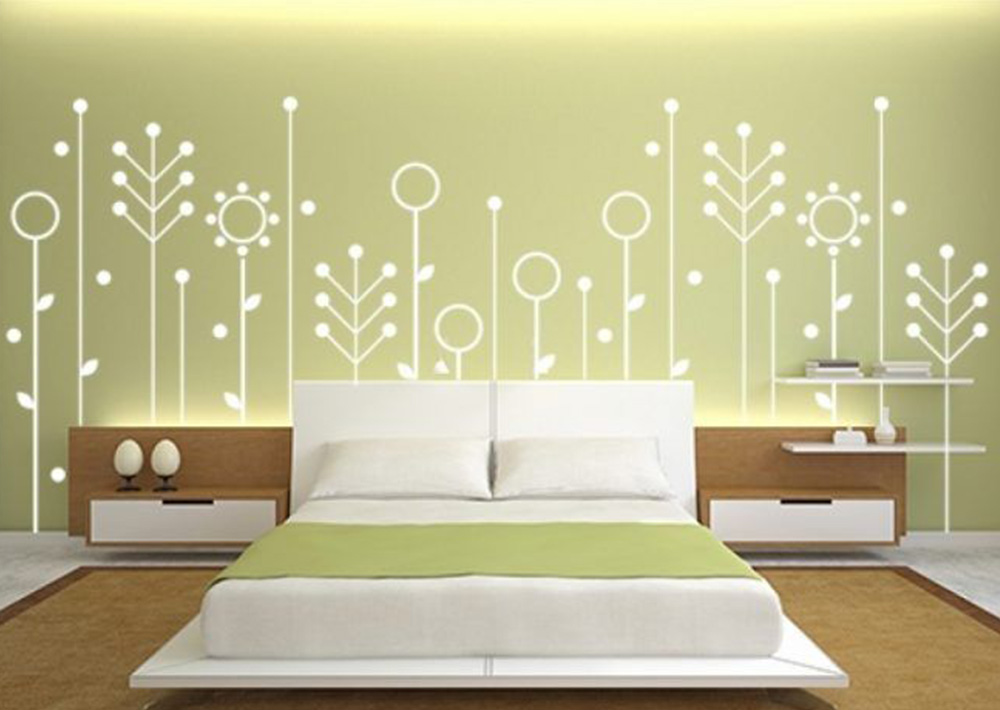 Decorate Bedroom walls with Random shapes painting