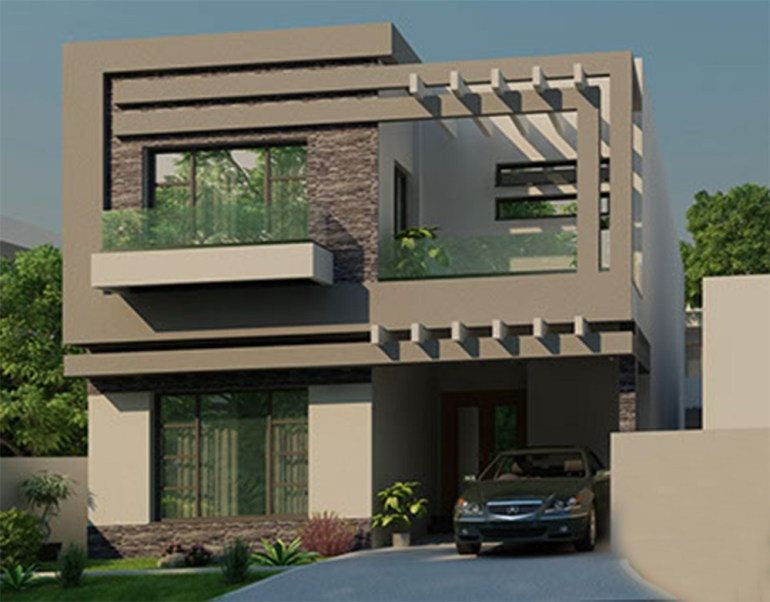 3D Elevation of 10 Marla Home