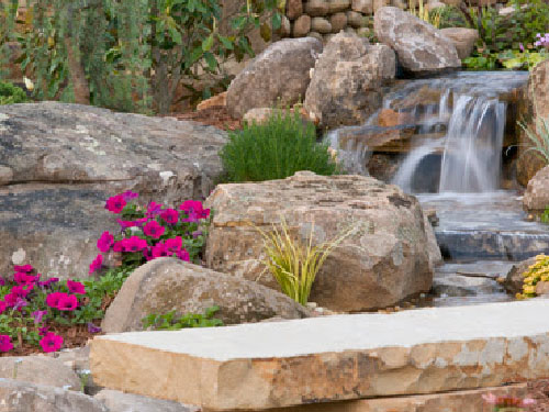 Artificial Waterfall In Backyard