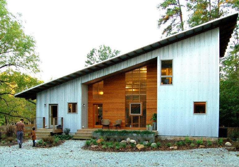 Modern Metal Saltbox House