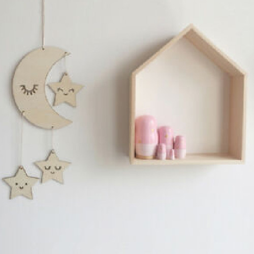Simple Moon Cloud Star Wooden Wall Hanging Decor