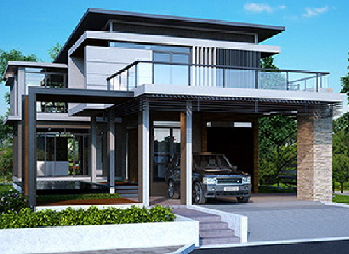 Stylish House Car Porch