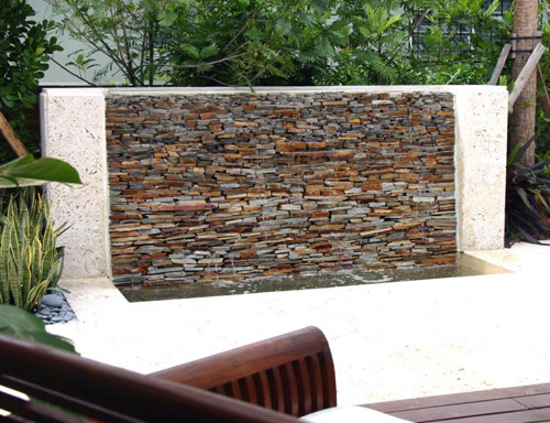 Water Wall Feature In Garden