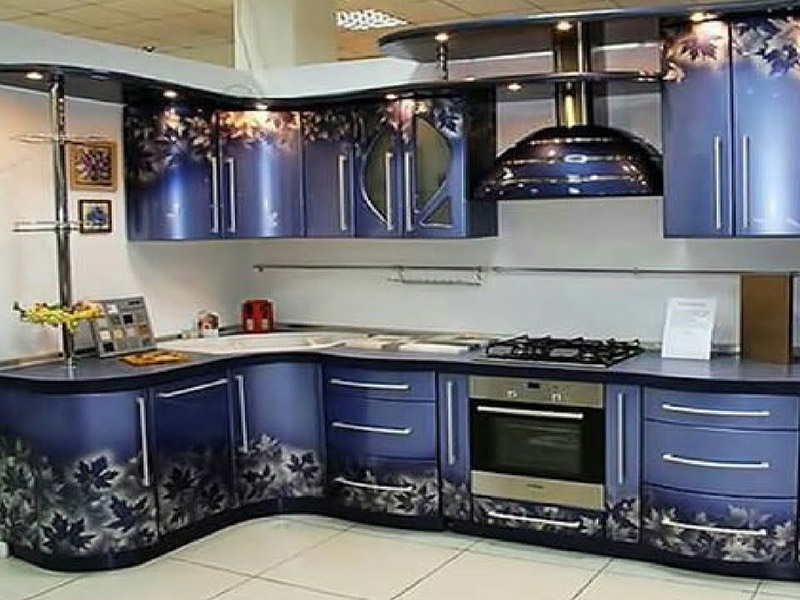 3d Style Kitchen Cabinet Blue Printed 1