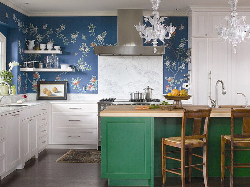 Colorful Kitchen Cabinet With Wallpapered Wall Marble