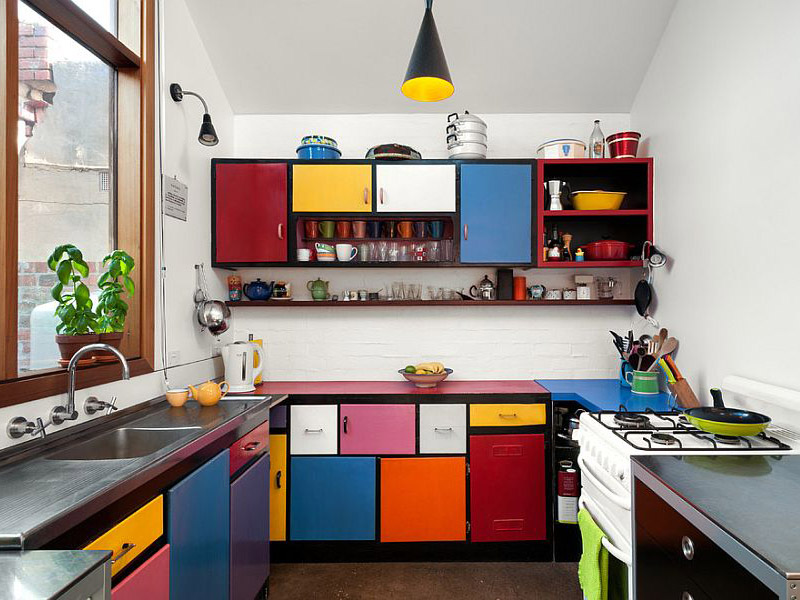 Multi Colored Shelves And Dynamic Kitchen