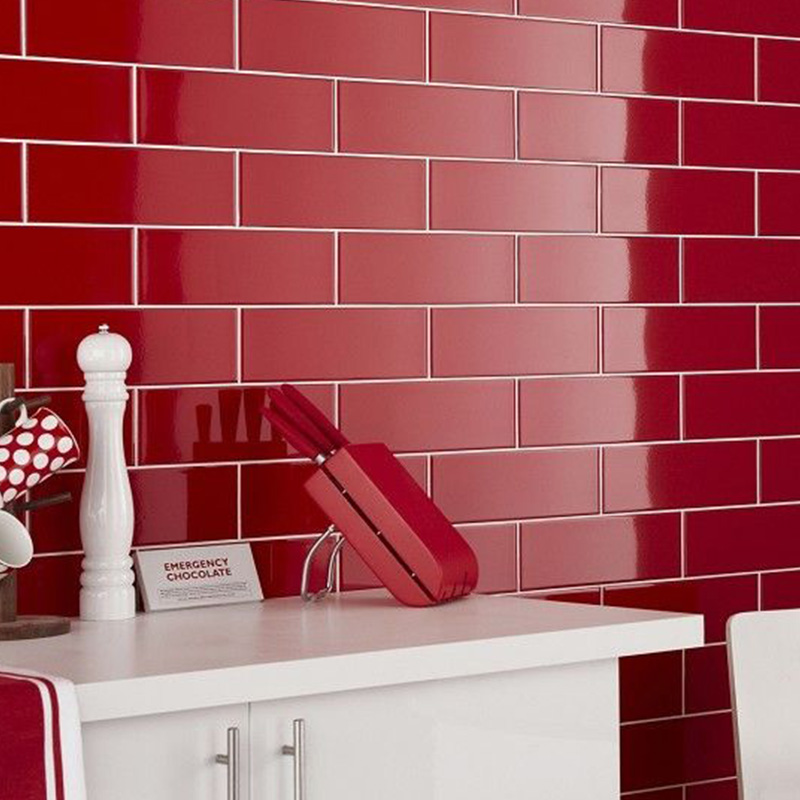 Red Color Kitchen Tiles