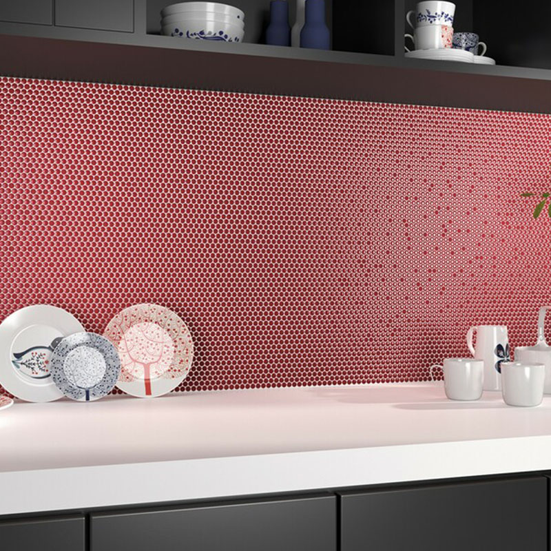 Red Dots Kitchen Wall Tiles