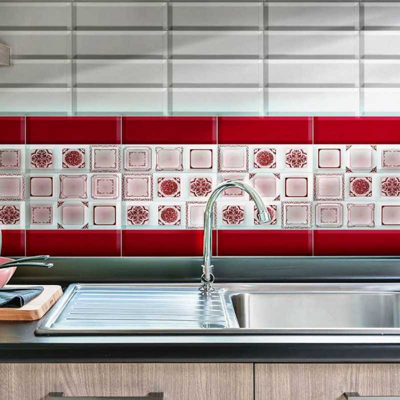 Red Flower Kitchen Tiles
