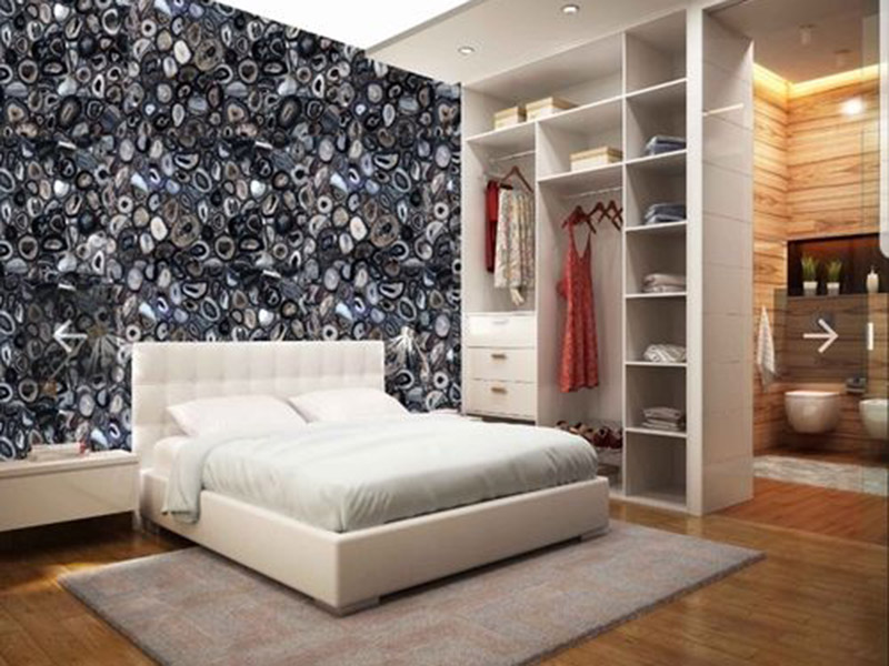 Black Combination Color Agate Stone Wall Tiles Design Bedroom