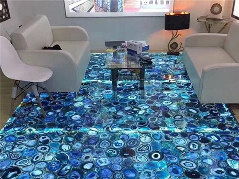 Blue Agate Stone Floor Tiles In Living Oom