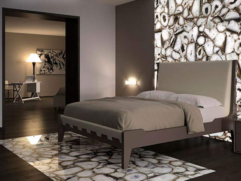 Crystal White Stone Wall Design Bedroom