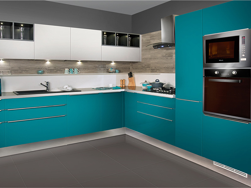 Glossy Blue Color Kitchen Cabinet