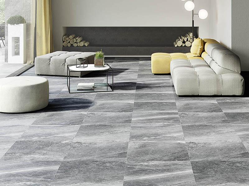 Grey Stone Floor Tiles In Living Room