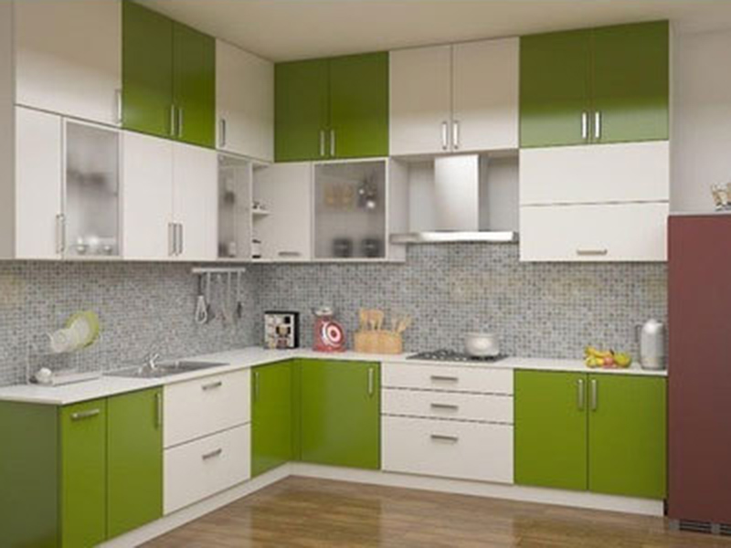 Kitchen Cabinet Green And White