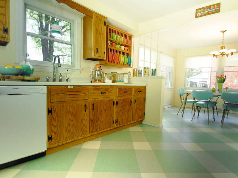Kitchen Floor Tile Green And Silver Color