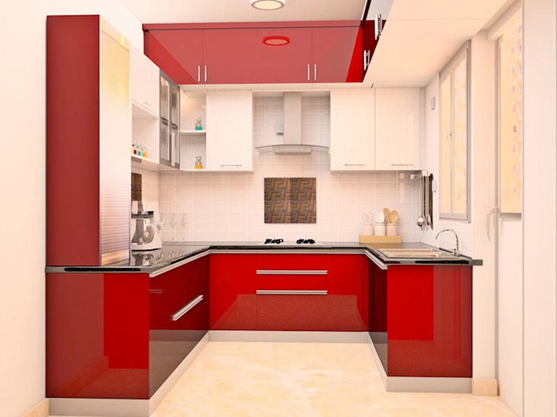 Light And Dark Red Kitchen Design