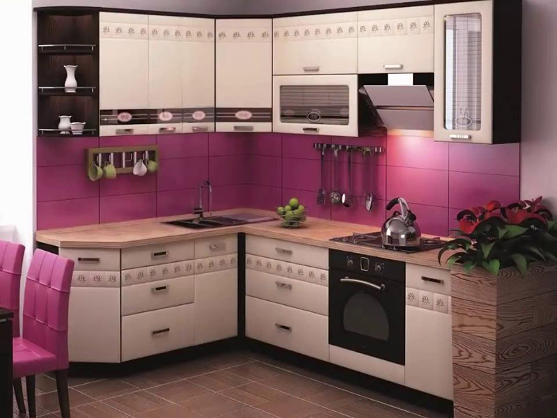 Modern Small Simple Kitchen Pinkish Color