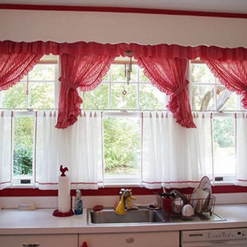 Red Color Above Sink Curtain