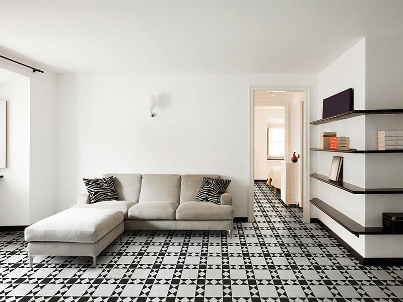 Victorian Black And White Floor Tiles Livingroom