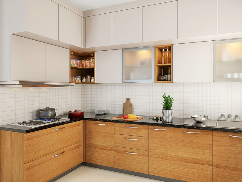 White Brown Kitchen Cabinet