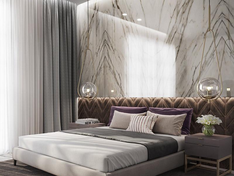 White Marble Wall Bedroom With Gold Lighting And Grey