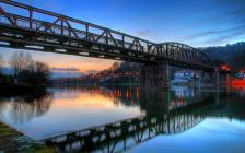 Eisenbahnbrücke über die Weser bei Hameln