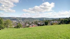 Blick auf Rhens. Im Hintergrund die Marksburg auf der anderen Rheinseite