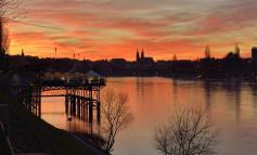 Basel bei Sonnenuntergag
