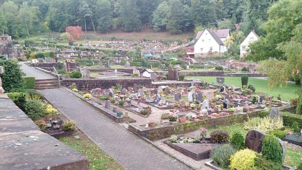 Ein Friedhof ohne Bäume - denn drumherum gibt es davon mehr als genug