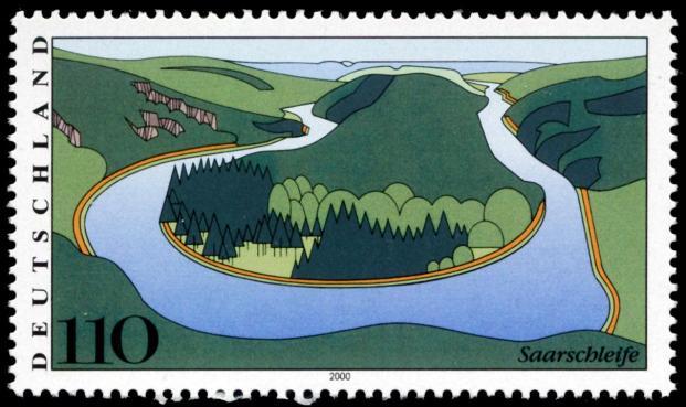 Die Saarschleife als Briefmarkenmotiv