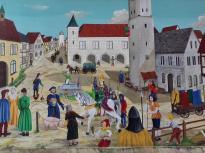 """Historisches Bild mit dem größten Sohn der Stadt, Heinrich II. von Isny, auch """"Knoderer"""" und """"Gürtelknopf"""" genannt"""