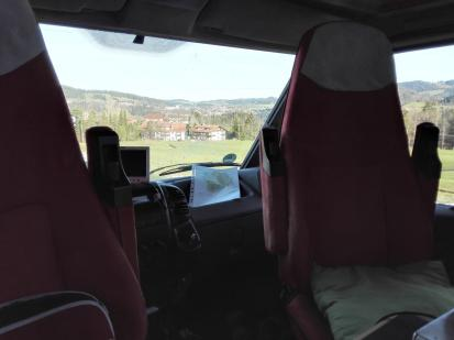 Blick aus dem Wohnmobil auf Oberstaufen