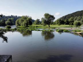Blick von der Naabbrücke auf den Fluss
