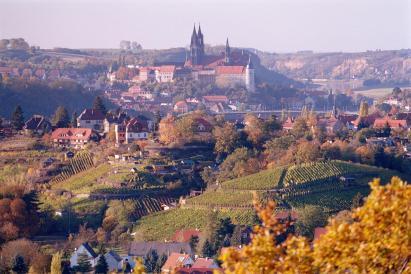 Blick vom Aussichtspunkt Juchhöh im Spaargebirge auf Meißen (Foto: Olaf1541   http://commons.wikimedia.org   Lizenz: CC BY-SA 3.0 DE)