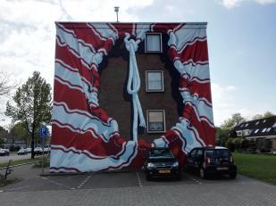 Kreativ bemalte Hausfassade