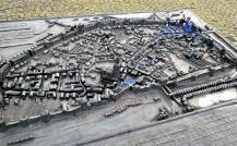 Bronzemodell der historischen Altstadt von Duisburg am heutigen Innenhafen
