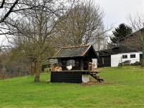 Gans und Ziegen vereint auf einem Bauernhof am Ortseingang von Leysiefen