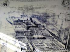 Historischer Stich des Klosters und seiner Gartenanlagen