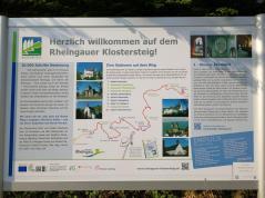 Infotafel am Rheingauer Klostersteig, der am Kloster Eberbrach endet bzw. beginnt